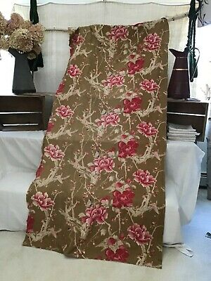 Antique French 19th Century Cotton printed  Japonisme Birds  Upholstery Faded
