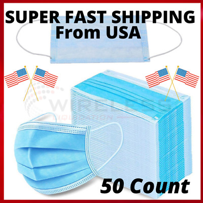 50 PCS 3 Ply Face Mask Surgical Dental Disposable Ear-loop Mouth Cover