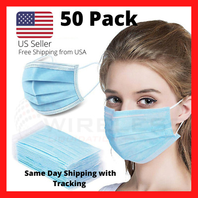 3 Ply Face Mask Surgical Dental Disposable Ear-loop Mouth Cover QTY 50