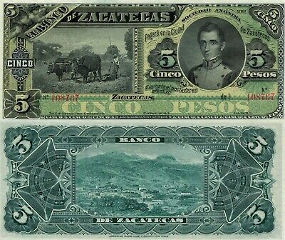 Mexico 5 Pesos (1891/1914) P-S475r Banco de Zacatecas Remainder UNC