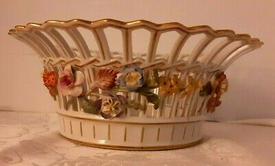 Antique Dresden Carl Thieme Flower Encrusted HP Reticulated Basket Bowl 1902