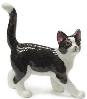 ➸ NORTHERN ROSE Miniature Figurine Black and White Cat