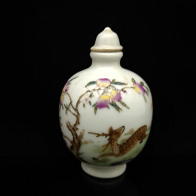 Chinese Exquisite Handmade Sika deer pattern porcelain snuff bottle  S153