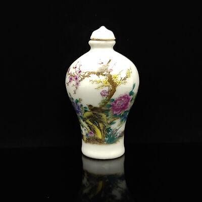 Chinese Exquisite Handmade Flowers & birds pattern porcelain snuff bottle  S149