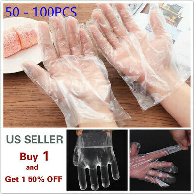 50 - 100Pcs LARGE Food Service Gloves Home Plastic Clear PE Safety Work Sanitary