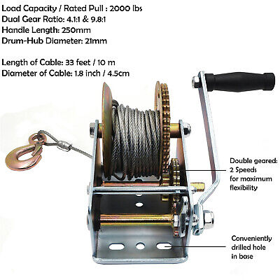 2000lbs Hand Winch Steel Cable hand Gear winch ATV Boat Trailer Heavy Duty