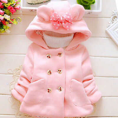 Girls Hooded Jacket Overcoat Double-breasted Long Sleeve Outwear Warm Bow-knot