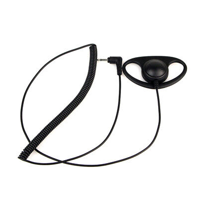 Listen Only D-shaped Earpieces For Radio Microphone W/ 2.5mm Mono Jack Black 1x