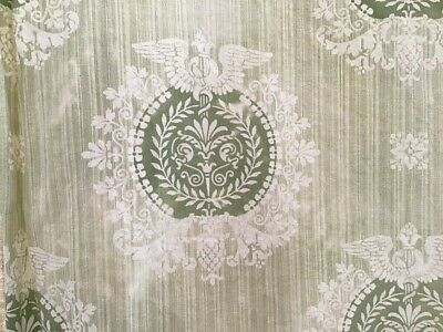 Antique French Neoclassical Toile Design Cotton Fabric Sage medallions