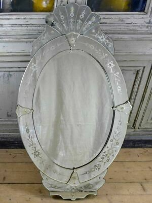 """Antique Venetian mirror - oval with crest 27½"""" x 48"""""""