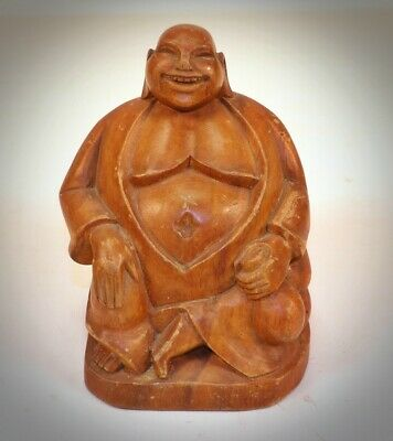 Vintage Hand Carved Wooden Fat Laughing Buddha Hotei God
