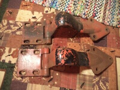 Two Nice Old Antique Iron Large Architectural Commercial Heavy Door Hinges