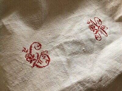 Antique French  Homespun Linen Tablecloth Large  Center Cross Stitch Mono CN