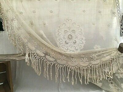 Magnificent  French Embroidered Cotton Tambour Lace Curtain Bed Cover