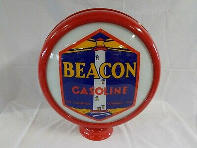 "Beacon (Blue) 15"" Limited Edition Gas Pump Globe w/ Painted Metal Frame"