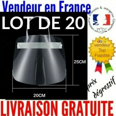 Lot de 20 - Visière de protection anti-projection visage - Prix Grossiste