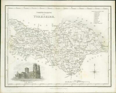 1836 - Original Antique Map of NORTH RIDING YORKSHIRE York  by Fullerton (44)