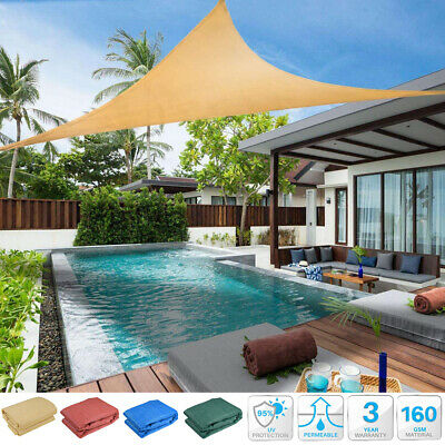 3.5m 5m Waterproof Sail Shade Triangle Canopy Fixings Outdoor Patio Garden Cover