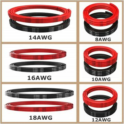 UK 8/10/12/14/16/18 AWG Gauge Flexible Silicone Wire Copper Black Red RC Cable