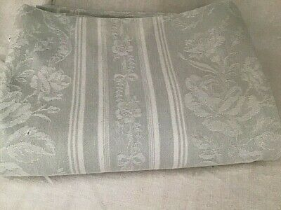 Antique / vintage French Damask Cotton Mattress Ticking Fabric Floral Bows Grey