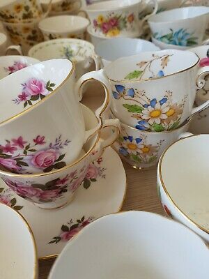 💐 Bone China `Pick And Mix` Tea Cups,Saucers And Side Plates (Trios)