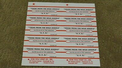 David Allan & the Arrows  * Wild Angels *  10 jukebox title strips - full sheet