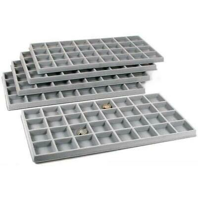 5 Gray Flocked 32 Compartment Display Tray Inserts