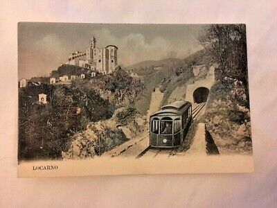 Rare Vintage linen postcard Locarno Switzerland features train - unposted