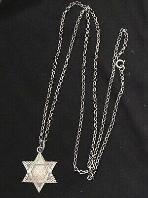 Solid Silver Star of David on Very Long Silver 26 inch Chain - Jewish Necklace