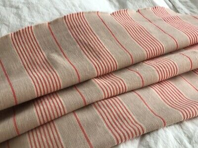 Antique / vintage French  Linen Herringbone Weave Stripe Mattress Ticking Fabric