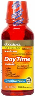 2 Pack of GoodSense Daytime Cold and Flu Multi-Symptom Relief, 12 Fluid Ounce
