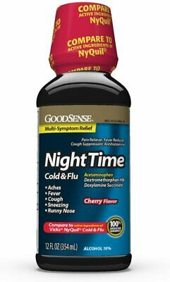 2 Pack of GoodSense Nighttime Relief, Cherry Flavor, Cold and Flu Liquid