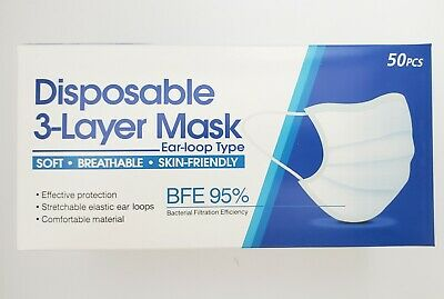 3 Ply Face Mask Surgical Dental Disposable Ear-loop Mouth Cover (QTY 50 in BOX)