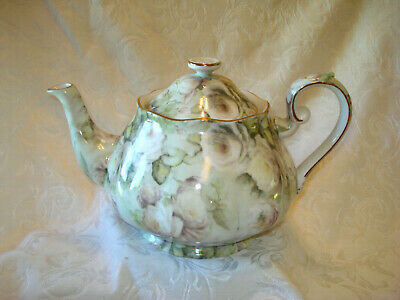 Soft Green & White Roses on a 6 Cup China Teapot Trimmed in Gold Tea Party Time