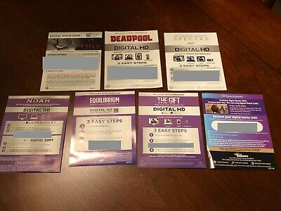 Lot of 8 Digital HD Blu Ray Movie Codes - IT 1 & 2, Lion King Remake, Deadpool