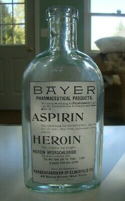 Vintage Bayer Aspirin-Heroin Pharmaceutical Products Repro Bottle -N.Y.- Empty