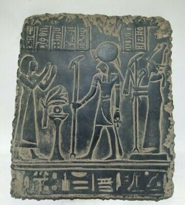 RARE ANTIQUE ANCIENT EGYPTIAN Statue Stela God Osiris Horus 1385-1349 Bc
