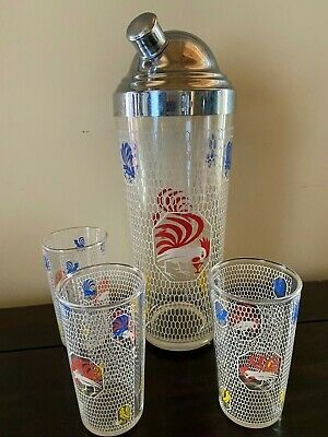 vintage Rooster drinking martini glass cocktail shaker with glasses set