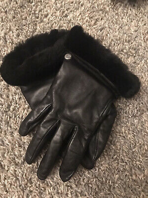 Ugg Genuine Dyed Shearling Trimmed Leather Shorty Black Gloves Size S