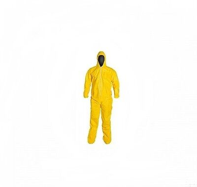 Protective Yellow Chemical Hazmat Coverall Suit W/ Hood A70 KLEENGUARD 09814 XL