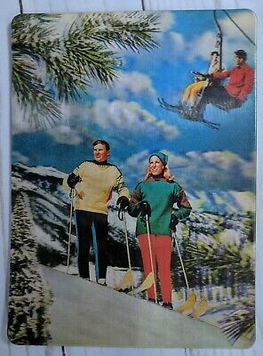 Vintage Lenticular Postcard Snow Skiing USA 3-D Super Xograph 1960s Downhill