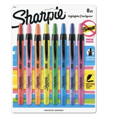 Sharpie Accent Retractable Highlighters, Assorted Colors, Pack Of 8