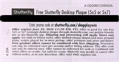 Shutterfly Desktop Plaque (5x5 or 5x7) code AB4E -  Expires 06/30/2020