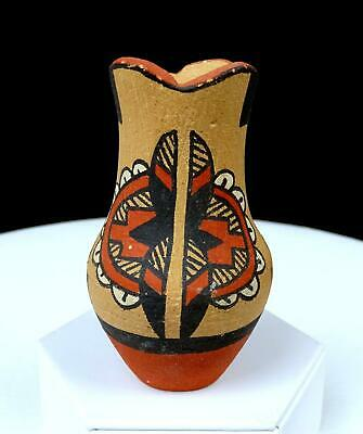 "B Madalena Signed Jemez Pueblo Native American Pottery 3 3/4"" Mini Vase"