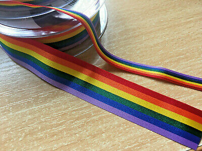 2 metres or full roll 10mm 25mm 38mm Rainbow Ribbon GAY PRIDE Stripe UK VAT Reg