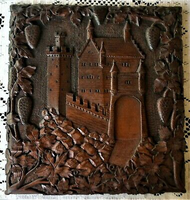 German Bavarian Antique Carved Wood Castle Wall Plaque