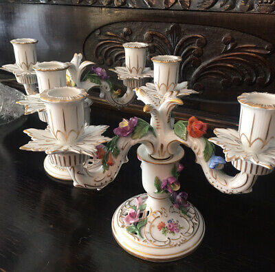 Pair of Dresden Porcelain Candelabras German