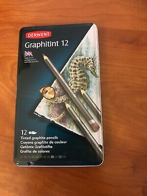 Derwent Graphitint 12 Tin Of Tinted Graphite Pencils; Use Wet Or Dry!