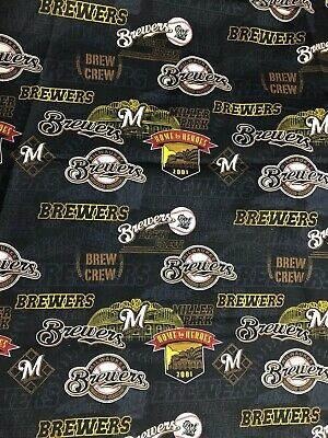 1 YARD MLB Milwaukee Brewers Major League Baseball Toss Cotton Quilt Fabric BTY