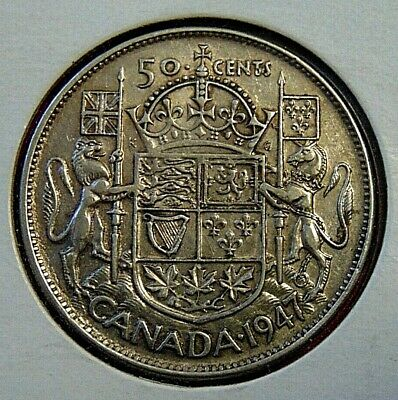 CANADA Canadian 1947 curved 7 silver fifty 50 cent cent piece half dollar coin